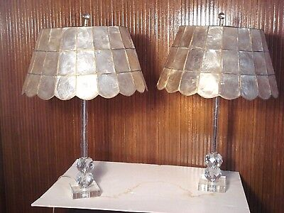 Pair Of Vintage Lucite Table Lamps With Capiz Shell Shades