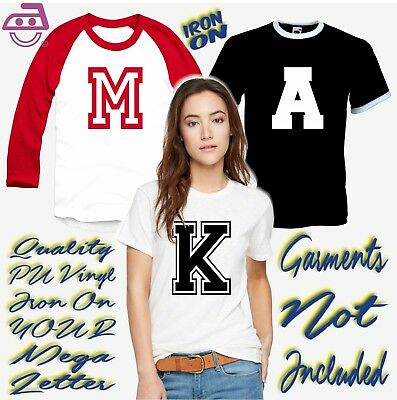 Iron On Letters Large Transfer Sports College Varsity Block Initial 25.5cms High
