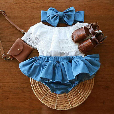 Toddler Kids Baby Girls Lace Ruffel Tops+Denim TuTu Dress Outfits Clothes 3PCS