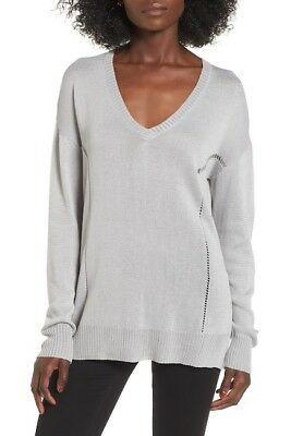 5999151968699 ASTR THE LABEL V-NECK MARLED SWEATER TUNIC, WHITE/BLACK, XS, NWT ...