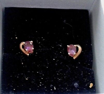 Amythyst Earrings Stud 375 Solid Gold Vintage