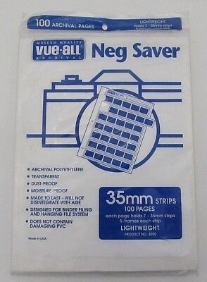 Vue All Neg Negative Sleeves 100 Archival Pages Lightweight 35mm Strips NEW