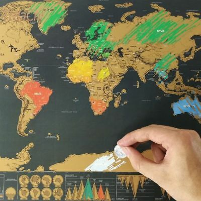 New Deluxe Travel Edition Scratch off World Map Poster Personalized Journal Gift