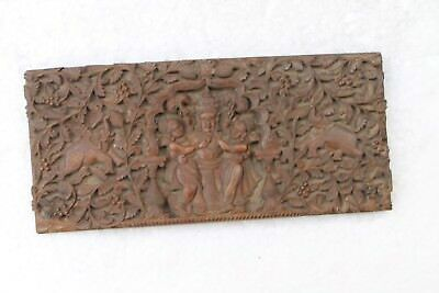 Vintage Old Wooden Handcrafted Wood Panel Book Cover With Krishna Figure NH4718