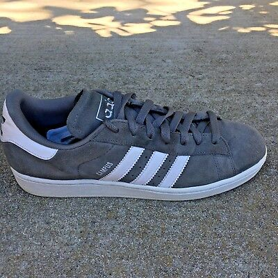 73eca9aad8c3 Adidas Campus II Men s Gray Suede 3 Stripe White Sneakers Shoe Size 9.5  G06027