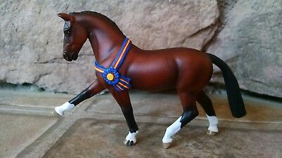 Custom Breyer Stablemate Bay Hanoverian Dressage Horse with Champion Ribbon