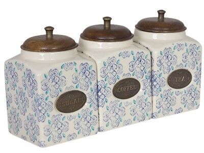 Tea, Coffee, Sugar Canister Set (3) Light Blue