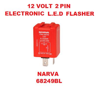 1x 12V 2 Pin Electronic L.E.D Flasher 12V- 30W Red and Silver NARVA 68249BL