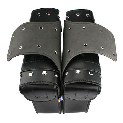 PU Leather Motorcycle Saddlebags Pouch Luggage Bag For Touring Softail Dyna