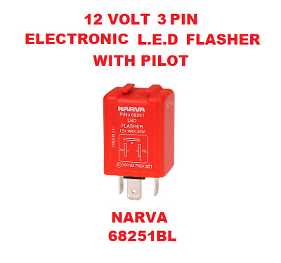 1x 12V 3 Pin Electronic L.E.D Flasher with Pilot 12V Red & Silver NARVA 68251BL