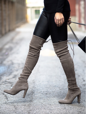 6773fd343bc  798 Stuart Weitzman Highland Thigh High Over Knee Otk Suede Stretch Boot  9.5