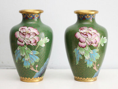 A Beautiful Pair Antique Chinese Cloisonné Gilded Vases, Peonies on Green