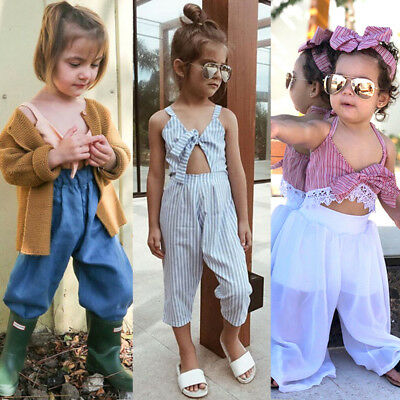 US Stock Lace Toddler Kids Baby Girl Stripe Romper Crop Top Pants Outfit Clothes