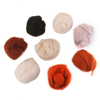 Set 8pcs Needle Wool Top Roving Dyed Spinning Wet Felting Fiber Multi-Colors