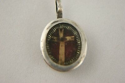 †  19Th True Cross Dnjc Reliquary 1 Relic Wax Seal Sterling Silver Case France †