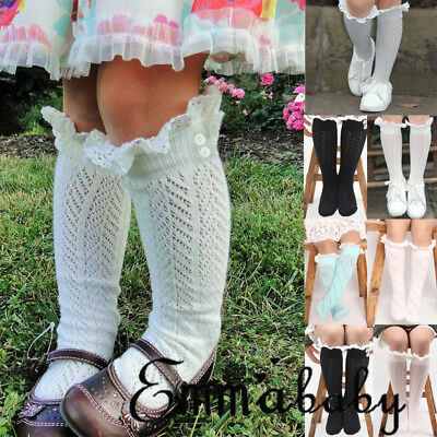Toddler Kid Baby Girl Knee High Long Socks Bow Cotton Casual Stockings 0-6 Years