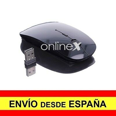 Ratón Mouse Inalámbrico Óptico LED Diseño Plano USB Wireless Negro Brillo a4044