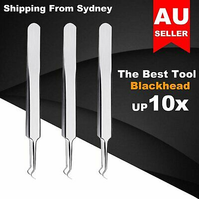 Stainless Steel Face Care Curved Blackhead Acne Clip Comedone Extractor Tweezers