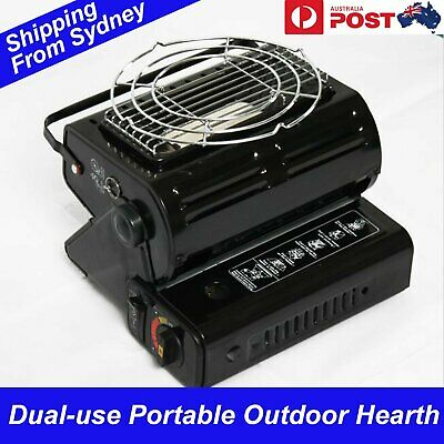 Black Portable Butane Heater Dual use Stove Burner Outdoor Camping Picnic Gas He