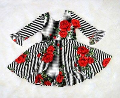 USA Toddler Kid Baby Girl Horn Sleeve Floral Stripe Princess Party Pageant Dress