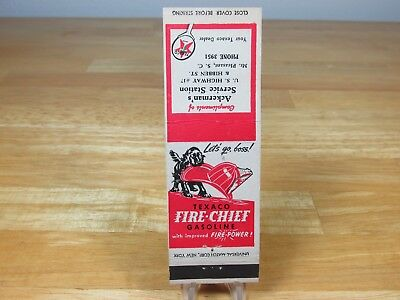Texaco Fire Chief Mt Pleasant S. C. Vintage Advertising Matchbook Cover
