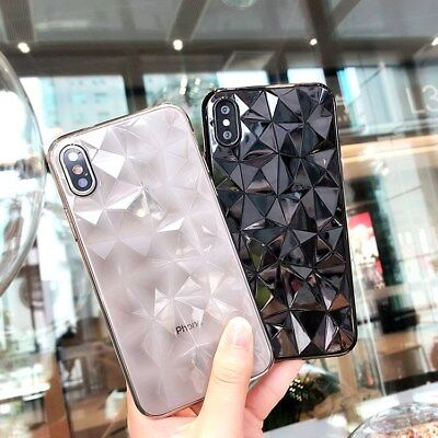 For iPhone X 8 6s 7 Plus 3D Diamond Bling Crystal Soft Rubber Clear Case Cover