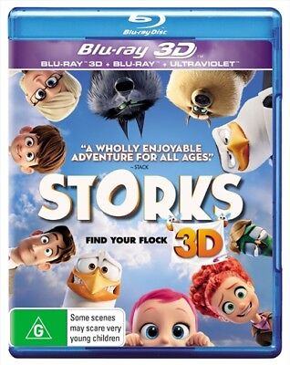 Storks Blu-ray 3D + 2D + Digital BRAND NEW SEALED Region B FREE POSTAGE