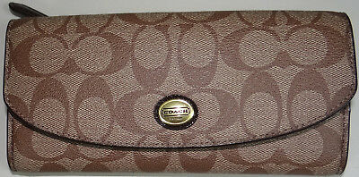 New Coach Wallet Envelope Pouch Peyton Signature F49154 Khaki Mahogany Brown