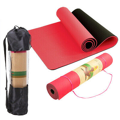 6mm TPE Yoga Mat Eco Friendly Dual Layer Non Slip WITH Carry Bag&Strap 183 x 61