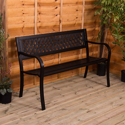 Garden Bench 3 Seater Steel Plastic Outdoor Patio Furniture Seat Lattice Style