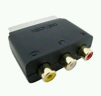Official Microsoft Xbox 360 SCART to RCA Phono Adaptor AV Audio Video Wii PS3