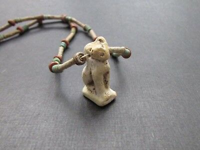 NILE  Ancient Egyptian Cat Amulet Mummy Bead Necklace ca 600 BC