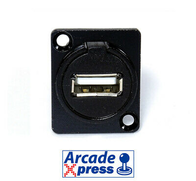 Pasamuros Conector USB 2.0 Hembra Negro Panel Pass-Through USB Black Connector