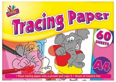 A4 60 Sheets Tracing Paper Pad Arts Crafts Colours Drawing Kids Creative NEW5069