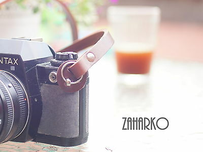NATURAL LEATHER CAMERA STRAP brown PROTECTION PADS 107 cm VERY STRONG