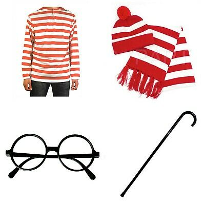 Kids Adult Where's Wally Costume Set Shirt Beanie Glasses Scarf Book Week Outfit
