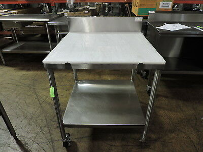 Commercial Stainless Steel Work Table with Poly Top & Undershelf