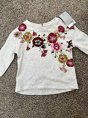 Next NEW With Tags Baby Girls Floral T-shirt Top Cream Beige Age 3-6 Months
