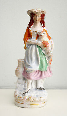 A Petite c19th Victorian Staffordshire Figurine, Maiden with Lamb