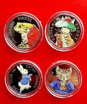 Beatrix Potter 50p 2018 Coins Uncirculated Coloured Set Inc Benjamin Jeremy Tom