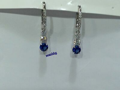 dc94f0957 Attract Trilogy Pierced Earrings White/Blue Swarovski Crystal Authentic  5416154