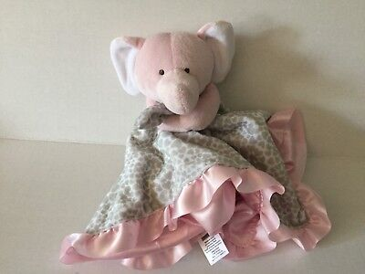 """Carters Pink Elephant Lovey Rattle 14"""" Security Blanket Plush Stuffed Brown"""