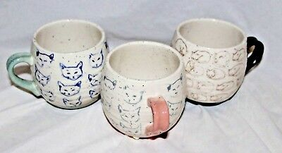 Leah Reena Goren Cat Study Coffee Mugs Set Of 3 Pink Green Blue Cups Kitty Lover