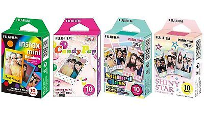 Fujifilm Instax Mini Instant Film Candy Pop, Rainbow, Stained Glass, Shiny Star