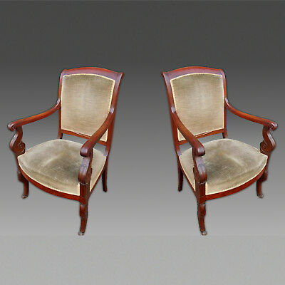 Antique Pair of Charles X Armchairs in Mahogany - 19th century
