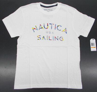 Boys Nautica $22.50 White T-Shirt W/ Multi-Colored Writing Size 8 - 18/20