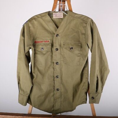 Vintage Official Boy Scouts of America Collarless Uniform Shirt Olive Green