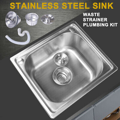 Square Stainless Steel Kitchen Sink Catering Laundry Single Bowl +Plumbing Waste