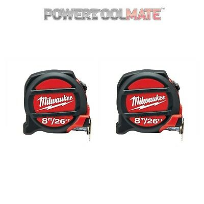 Milwaukee 48225226 8M/16ft Tape Measure Non-Mag - Twin Pack