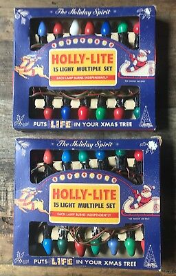 Lot of 2 Vintage Holly-Lite Christmas Light Sets in Original Boxes